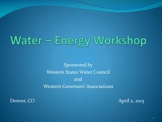 Water – Energy Workshop