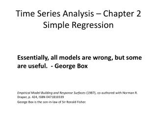 Time Series Analysis – Chapter 2 Simple Regression