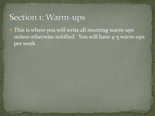 Section 1: Warm-ups