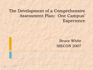 The Development of a Comprehensive Assessment Plan:  One Campus' Experience
