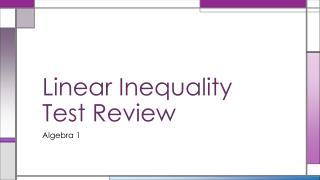 Linear Inequality Test Review