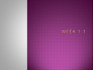 Week 1-1