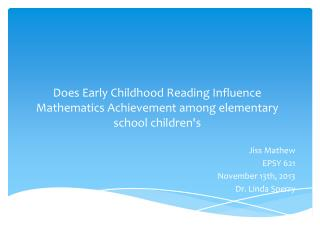 Does Early Childhood Reading Influence Mathematics Achievement among elementary school children's