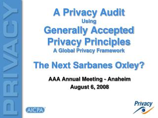 A Privacy Audit Using Generally Accepted Privacy Principles A Global Privacy Framework The Next Sarbanes Oxley?