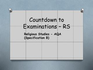Countdown to Examinations – RS