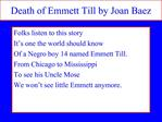 Death of Emmett Till by Joan Baez