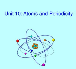 Unit 10: Atoms and Periodicity