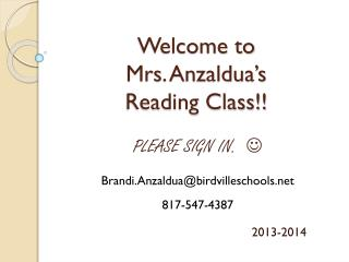 Welcome to Mrs. Anzaldua's Reading Class!!