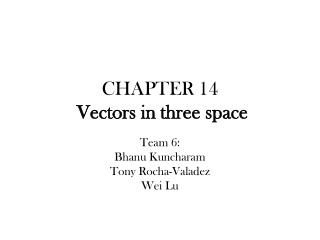 CHAPTER 14  Vectors in three space