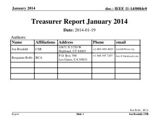 Treasurer Report  January 2014