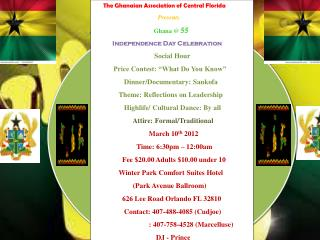The Ghanaian Association of Central Florida Presents Ghana @  55 Independence Day Celebration
