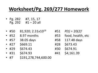Worksheet/Pg. 269/277 Homework