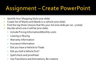 Assignment – Create PowerPoint