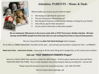 Attention: PARENTS - Moms & Dads