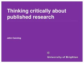 Thinking critically about published research