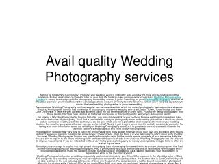 Avail quality Wedding Photography services