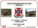 1203D ENGINEER BATTALION UPDATE