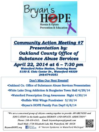 Community Action Meeting # 7 Presentation by: Oakland County Office of Substance Abuse Services