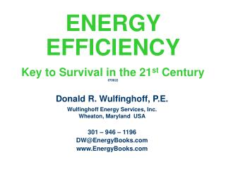 ENERGY  EFFICIENCY Key to Survival in the 21 st  Century 070822