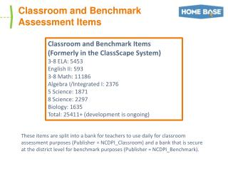 Classroom and Benchmark Assessment Items