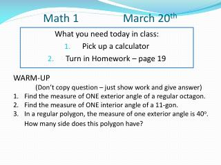 Math 1 		      March 20 th