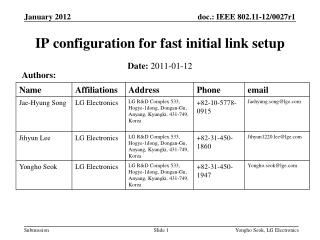 IP configuration for fast initial link setup