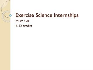 Exercise Science Internships