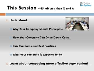This Session  – 45 minutes, then Q and A