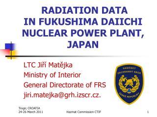 RADIATION DATA IN FUKUSHIMA DAIICHI NUCLEAR POWER PLANT, JAPAN