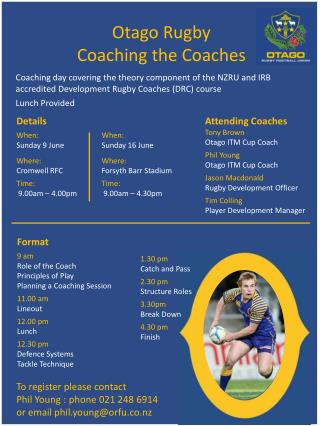 Otago  Rugby Coaching the Coaches