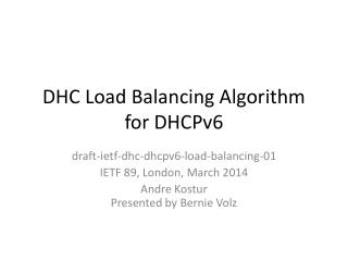 DHC Load Balancing Algorithm for DHCPv6
