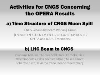 Activities for CNGS Concerning the OPERA Results