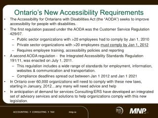 Ontario's New Accessibility Requirements