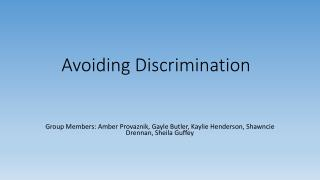 Avoiding Discrimination