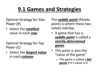 9.1 Games and Strategies