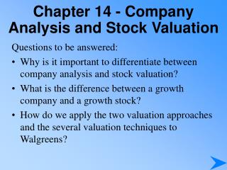 Chapter 14 - Company Analysis and Stock Valuation