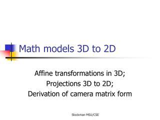 Math models 3D to 2D