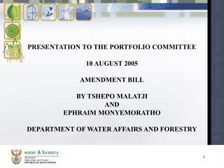 PRESENTATION TO THE PORTFOLIO COMMITTEE    10 AUGUST 2005   AMENDMENT BILL   BY TSHEPO MALATJI AND  EPHRAIM MONYEMORATHO