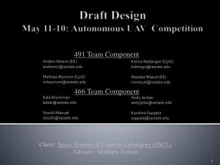 Draft Design  May 11-10: Autonomous UAV  Competitio n