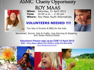 ASMC   Charity  Opportunity ROY  MAAS