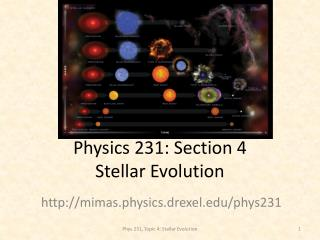 Physics 231: Section 4 Stellar Evolution