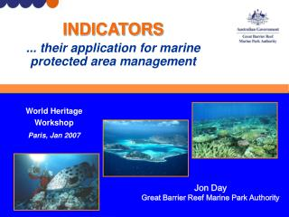INDICATORS ... their application for marine protected area management