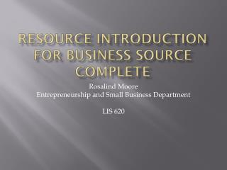 Resource Introduction for Business Source Complete
