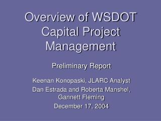 Overview of WSDOT Capital Project Management