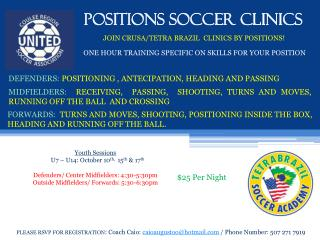 POSITIONS SOCCER CLINICS