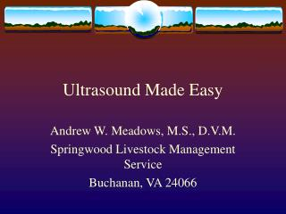 Ultrasound Made Easy