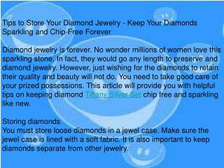Tips to Store Your Diamond Jewelry - Keep Your Diamonds Spar