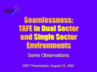 Some Observations CEET Presentation, August 23, 2001