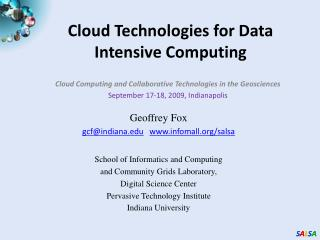 Cloud Technologies for Data Intensive Computing