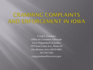 Cramming Complaints and Enforcement in Iowa